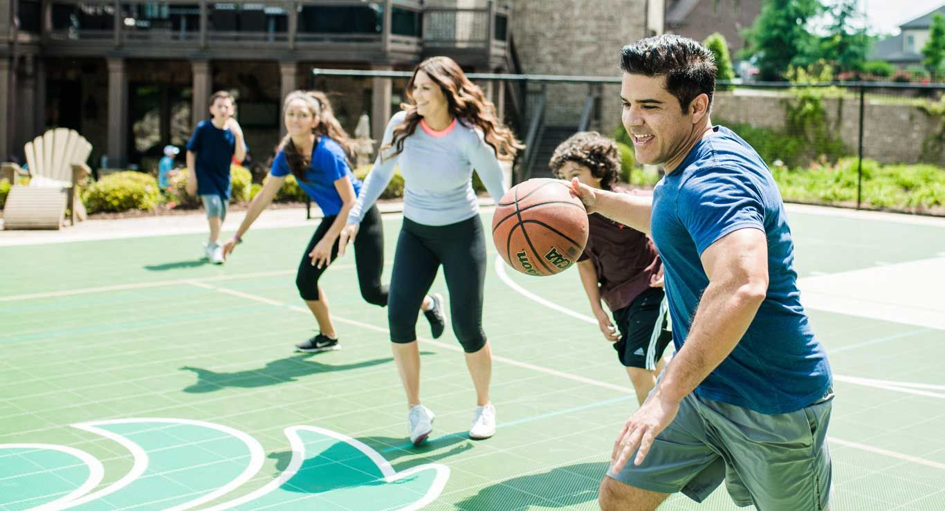 10 Things To Consider Before Building A Backyard Court Installing A Game Court In Your Backyard Outdoor Basketball Court Home Basketball Court Basketball Court