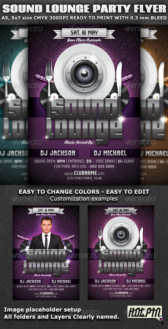 Sound Lounge PartyClub Flyer Template Is Very Modern Flyer With