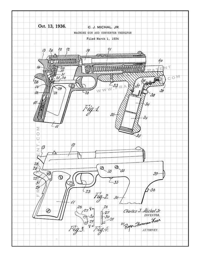 Machine Gun And Converter Therefor Patent Print