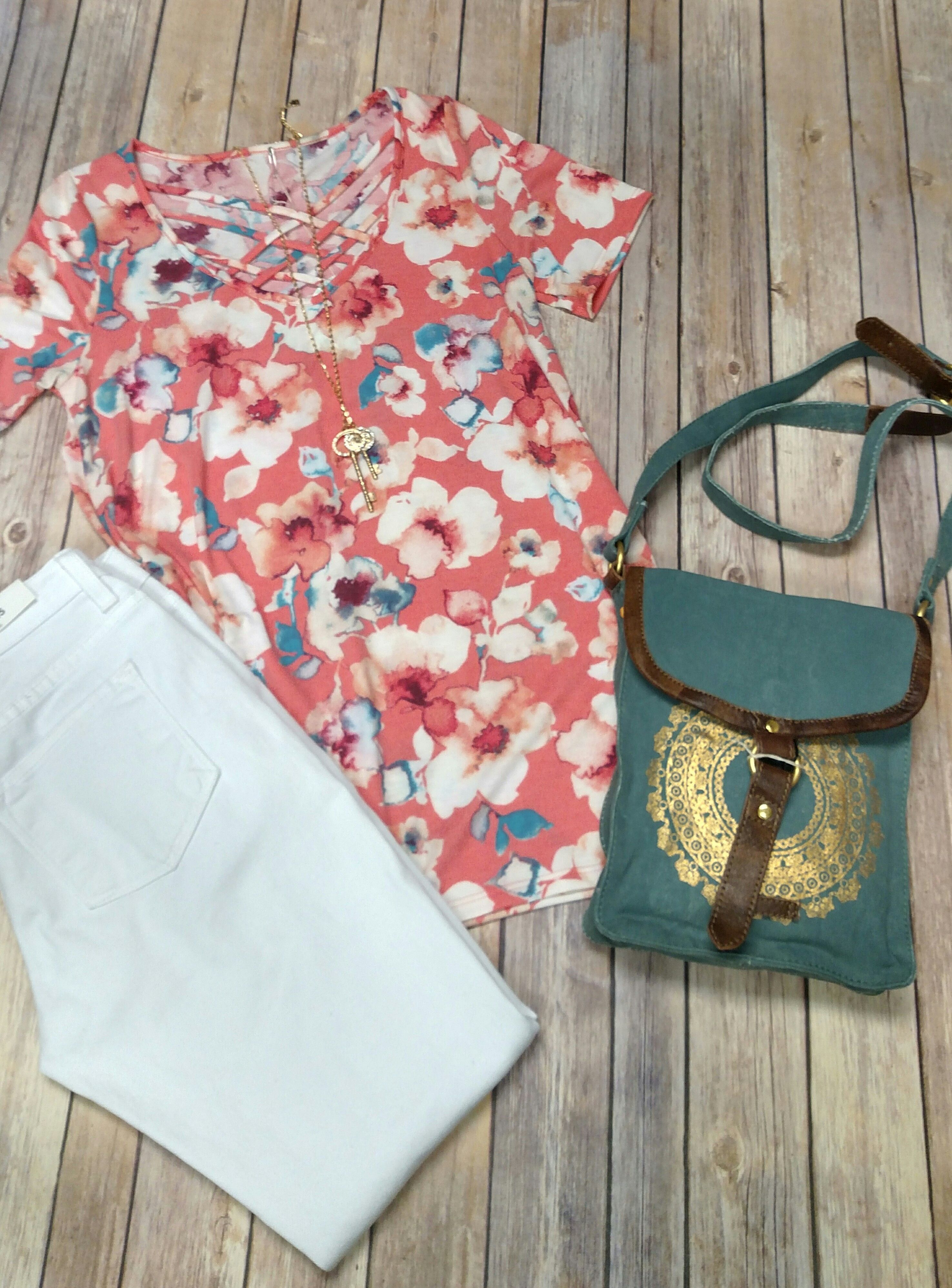 Floral Top With Criss-Cross Detail