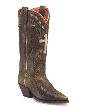 Leather Vintage Boot With Cross