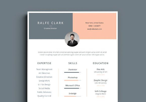 Resume / Cv Template by Graphic Pear on @creativemarket Beautiful