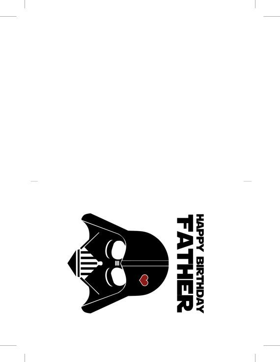graphic regarding Star Wars Printable Birthday Cards named Star Wars Humorous Birthday Card for Father - Do-it-yourself Printable Do-it-yourself
