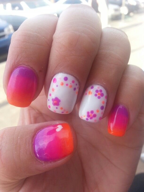 Faded gel polish neon colours flowers polka dots nail art by Meghan ...