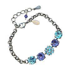 Swarovski Elements Crystal Bracelet, Tanzanite and Aqamarine  Crystal Bracelet