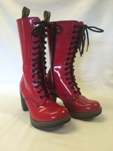 a6d94381e35 DR-DOC-MARTENS-Red-Patent-Dee-Diva-14-Eye-Boot-High-Heel-Sexy-US-5 ...