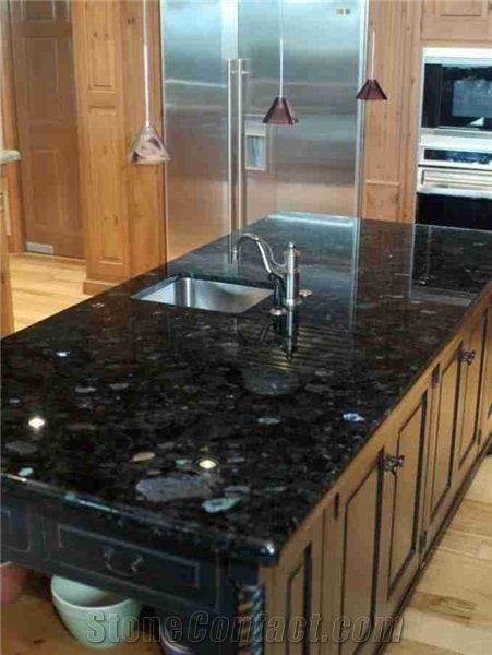Blue Granite Countertops, Volga Blue Granite Kitchen Countertop,Volga Blue  Extra Dark Kitchen Island