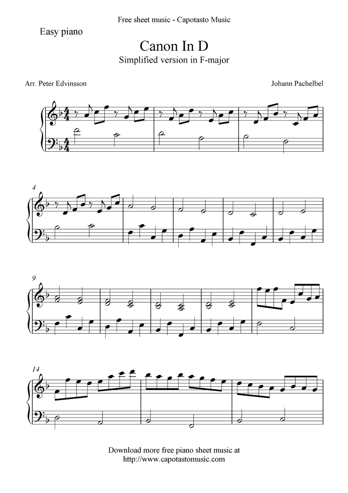 graphic about Canon in D Piano Sheet Music Free Printable referred to as Canon Within D Cost-free Simple Piano Sheet Songs Piano Training