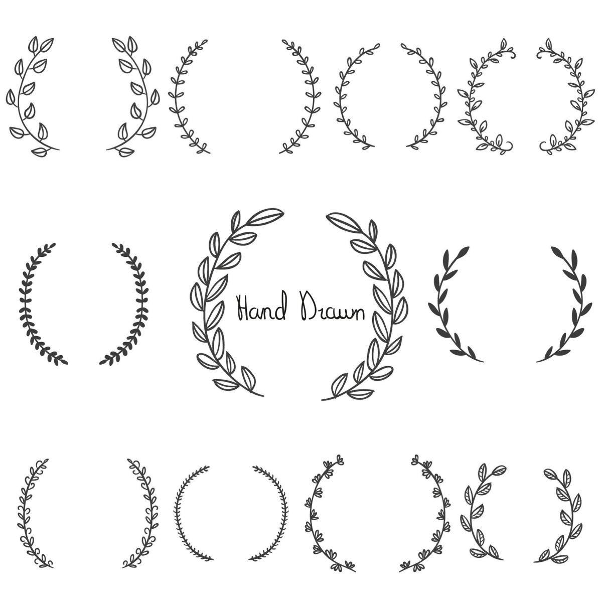 Free Graphics: Hand Drawn Laurel Wreaths   crafts