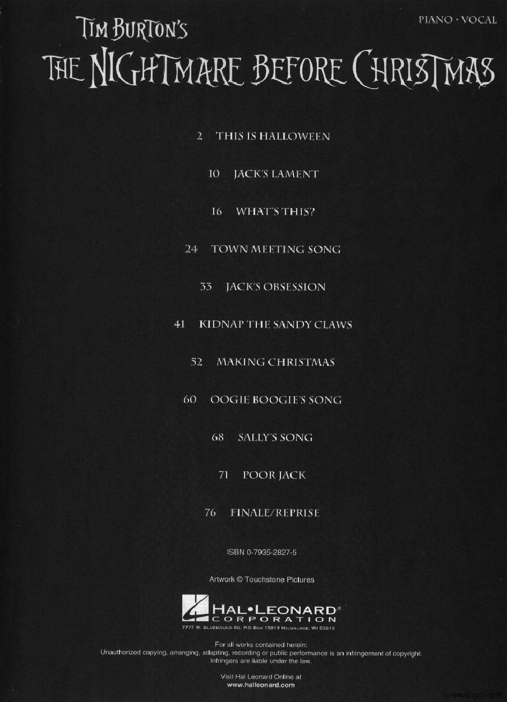 Danny Elfman - The Nightmare Before Christmas - Piano Sheet   Scribd ...