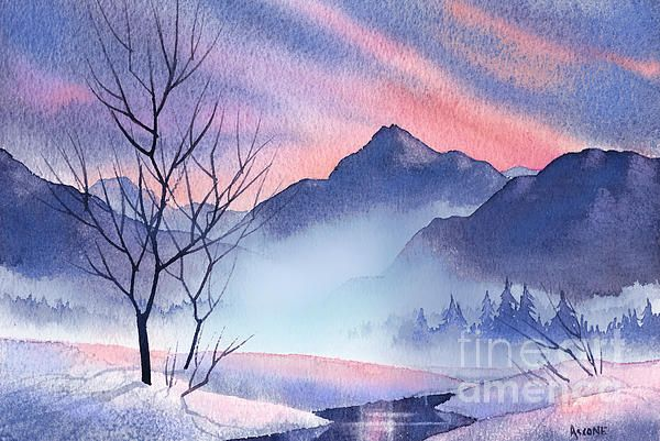Mountain Silhouette Watercolor Landscape Paintings Mountain