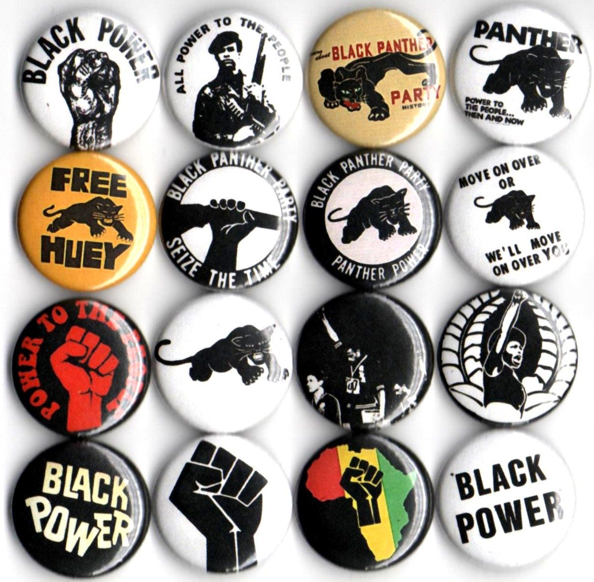 Black Panther Party Button Set Of 16 Pinbacks 1 By Panicbuttons101