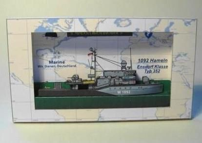 "Ship In A Box - Ensdorf-Class Type 352 ""Hameln"" Paper Model - by Olvar - via Papiermodell Austria - == -  More one ""great little paper model"" created by German designer Oliver Bizer, aka Olvar: this is the Ensdorf-Class Type 352 ""Hameln"", a Ship in a Box from ""Quick to Build"" series. A nice one to decorate your wall. Below you will find two links, one to download the model and other with the detailed construction report, full of photos."