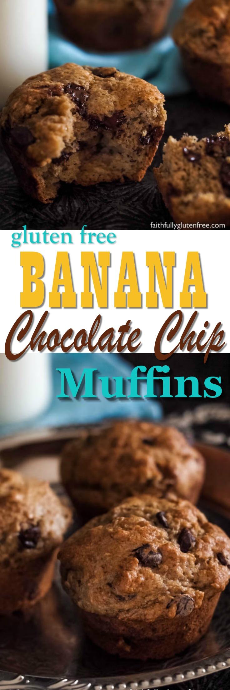 Moist Gluten Free Chocolate Chip Banana Muffins