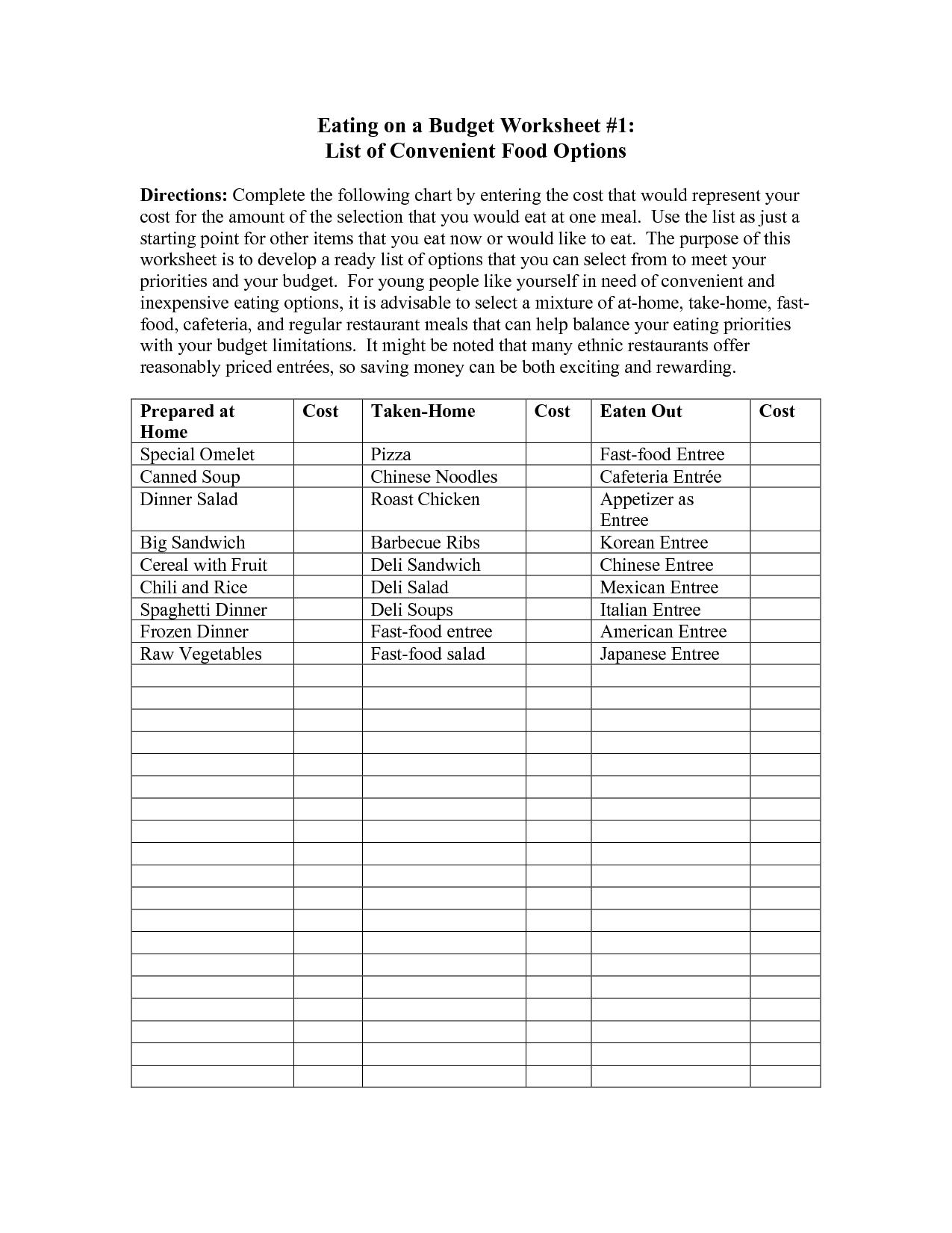 Sample Food Budget Worksheet Discover budget eating options ...