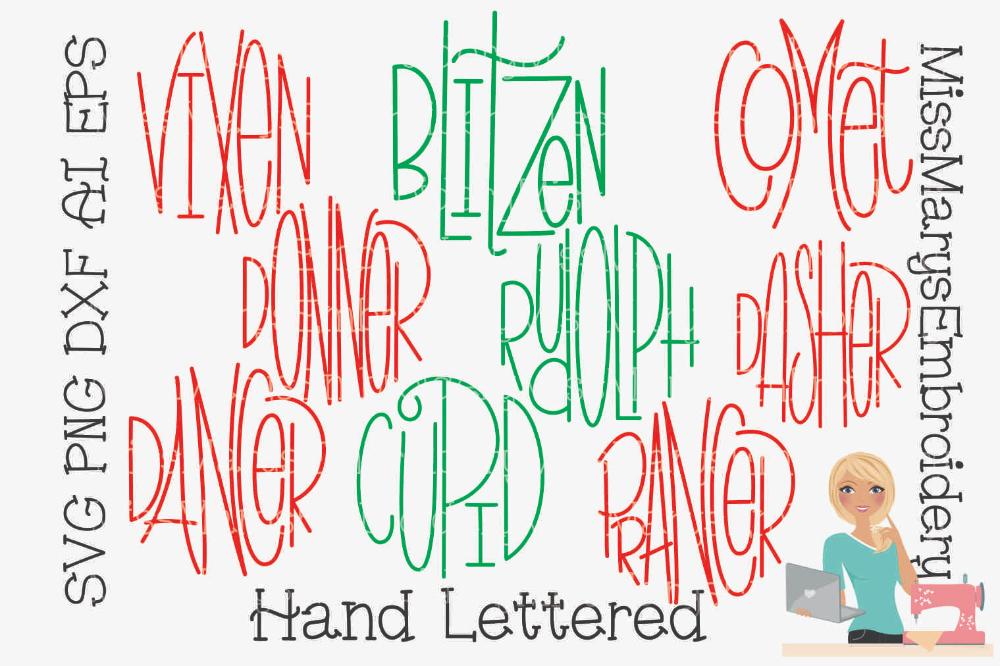 Reindeer Names SVG Christmas SVG Ornament Sayings SVG
