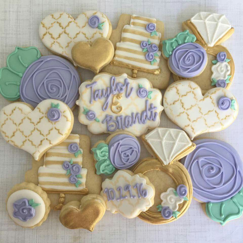 Anniversary Cookies Wedding Decorated Engagement Decorating Cakes Cookie Flower Sugar