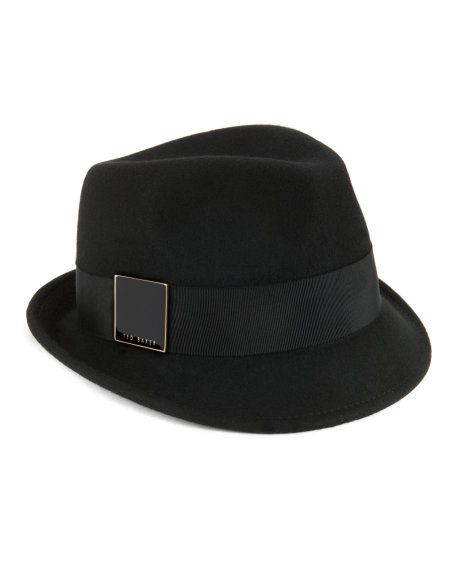 I would rock a messy fishtail braid or low pony with this hat. felt trilby  - Black  659b59908611
