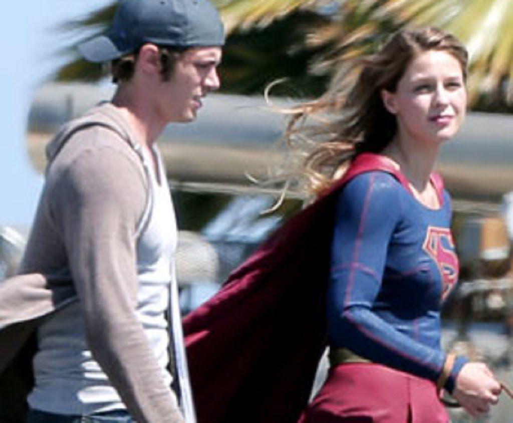Melissa Benoist Gets Supergirl Set Visit From Husband Blake Jenner Blake Jenner Supergirl Melissa Benoist