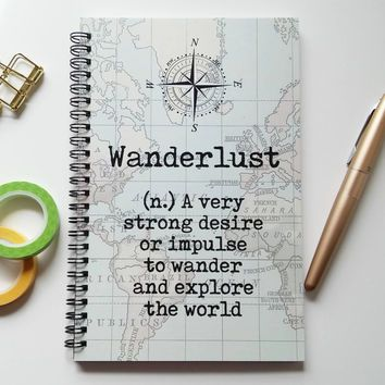 Writing journal spiral notebook sketchbook bullet journal vintage map definition blank - Wanderlust geschenke ...