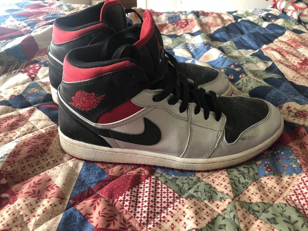 3fb322d974e312 Nike Men s Air Jordan 1 Retro Sneakers - Size 10 US Silver Red Black.   fashion  clothing  shoes  accessories  mensshoes  athleticshoes (ebay  link)   ...