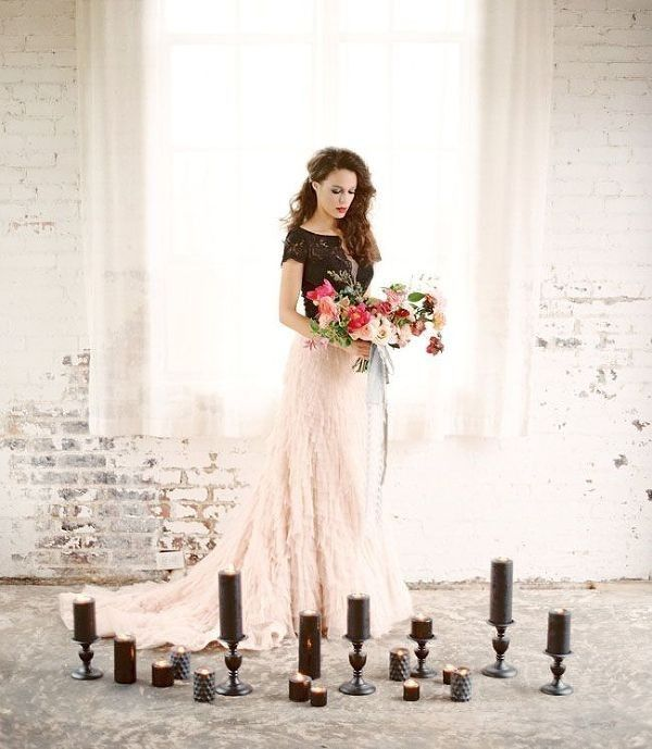 Dramatic Bride in Black and Blush Surrounded by Candles | Charla Storey Photography on @heyweddinglady via @aislesociety
