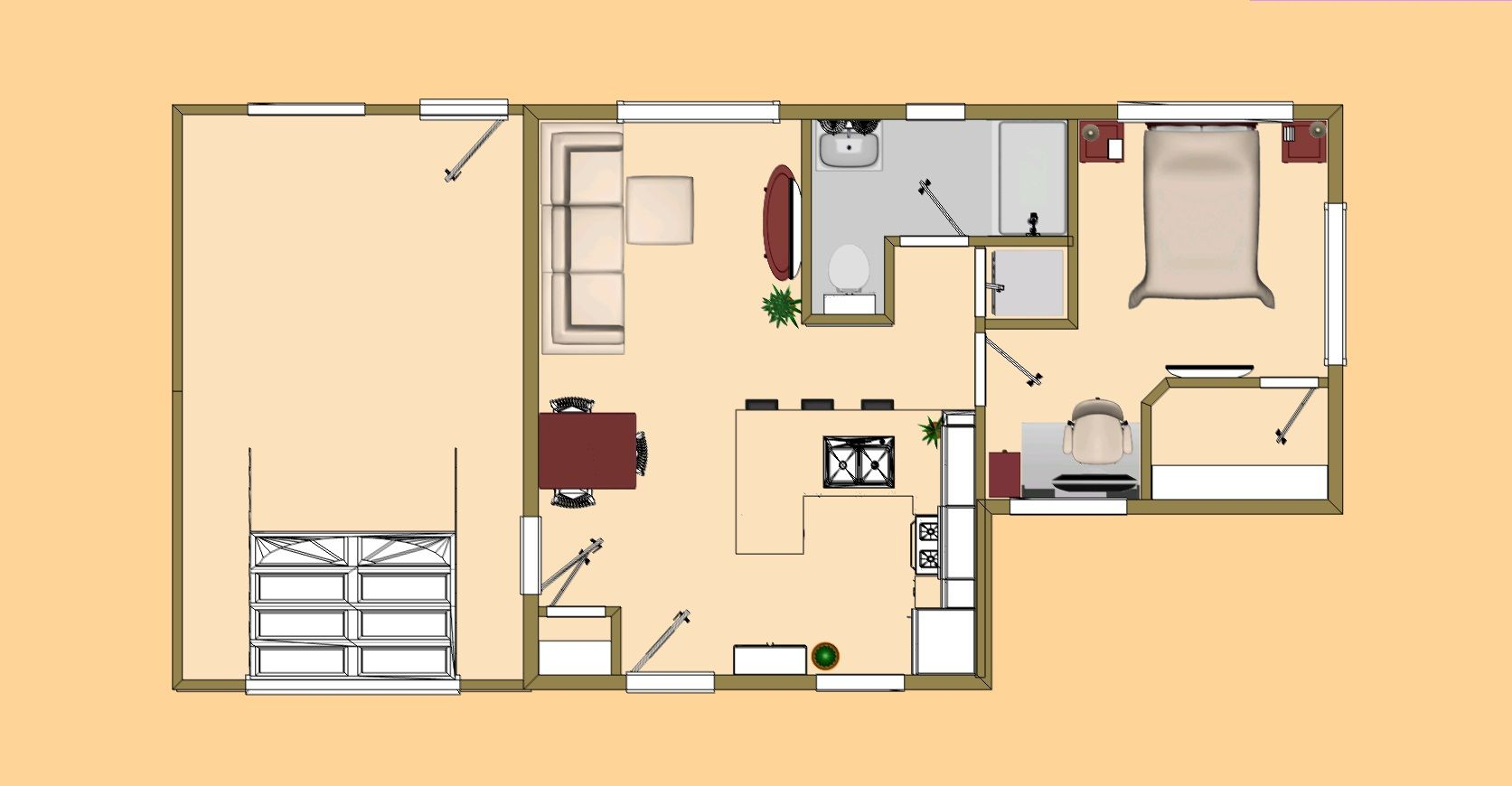 floor plan view of the 488 sq ft floor plan view of the 488 sq ft