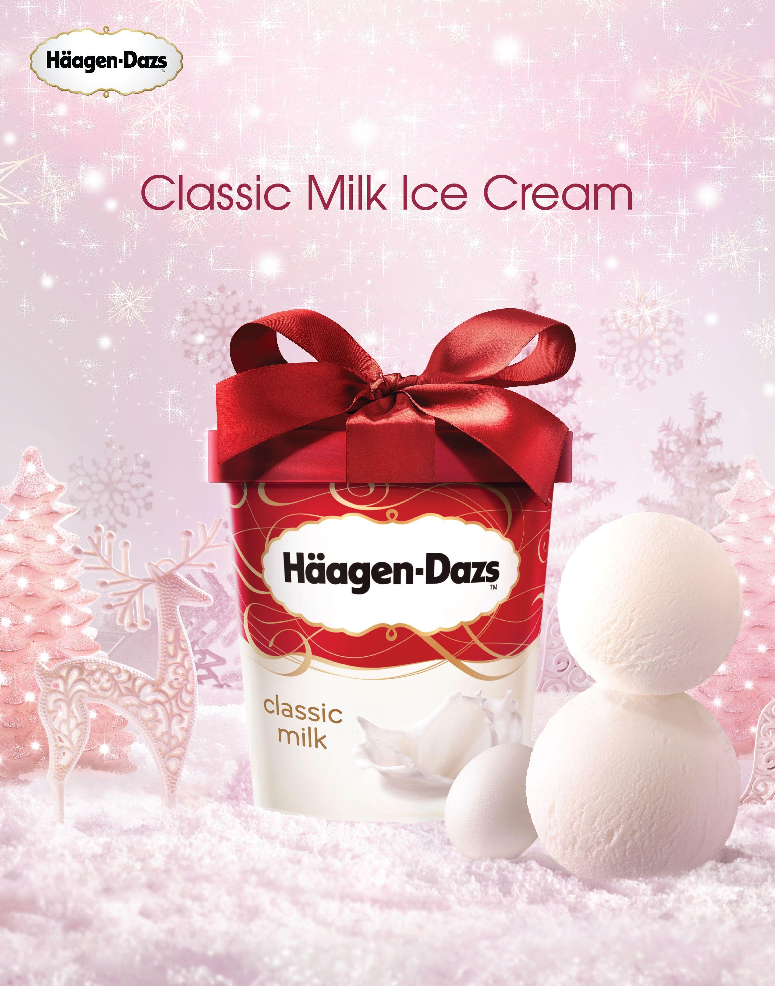 Haagen Dazs X Mas Classic Milk Ice Cream Christmas Advertising Food Poster Design Haagen Dazs