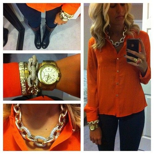 Fall inspiration: Pumpkin orange blouse, gold accessories & riding boots.