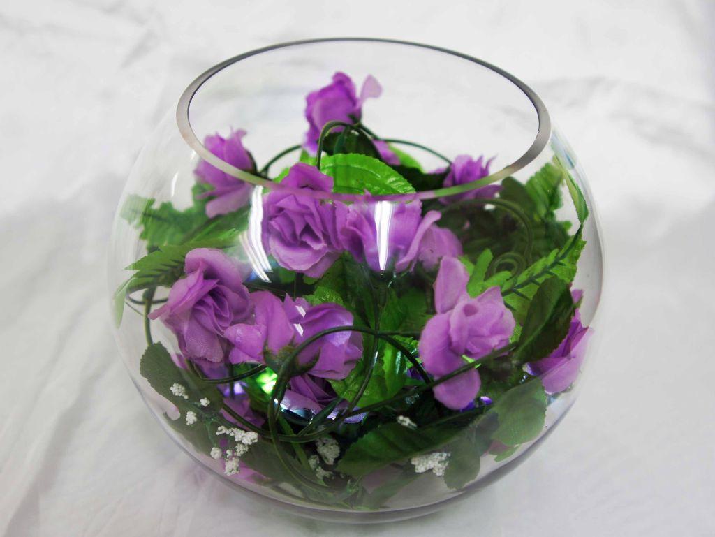 YES purple roses bouquet bowl centerpiece ideas
