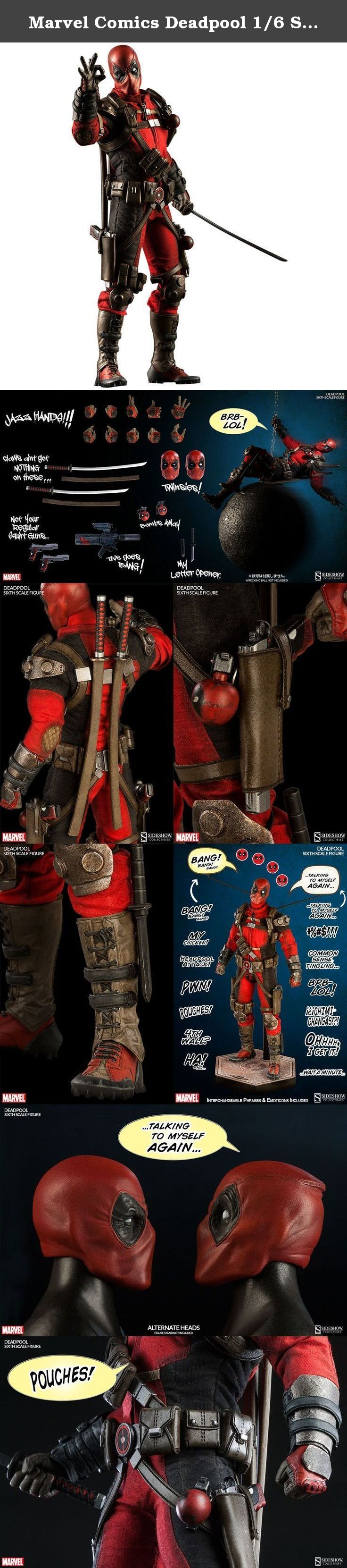 "Marvel Comics Deadpool 1/6 Scale Plastic Painted Figure by Sideshow. Launching Sideshow Collectibles' highly-anticipated Marvel Sixth Scale collection...""Here comes DEADPOOL!""Armed to the teeth with guns, puns, and things that go boom, Sideshow's fully articulated Deadpool Sixth Scale Figure is ready to break through any obstacle - especially the proverbial fourth wall.Decked out in his iconic hand-tailored red and black costume, super-studly Wade Wilson comes with two handsome portraits…"