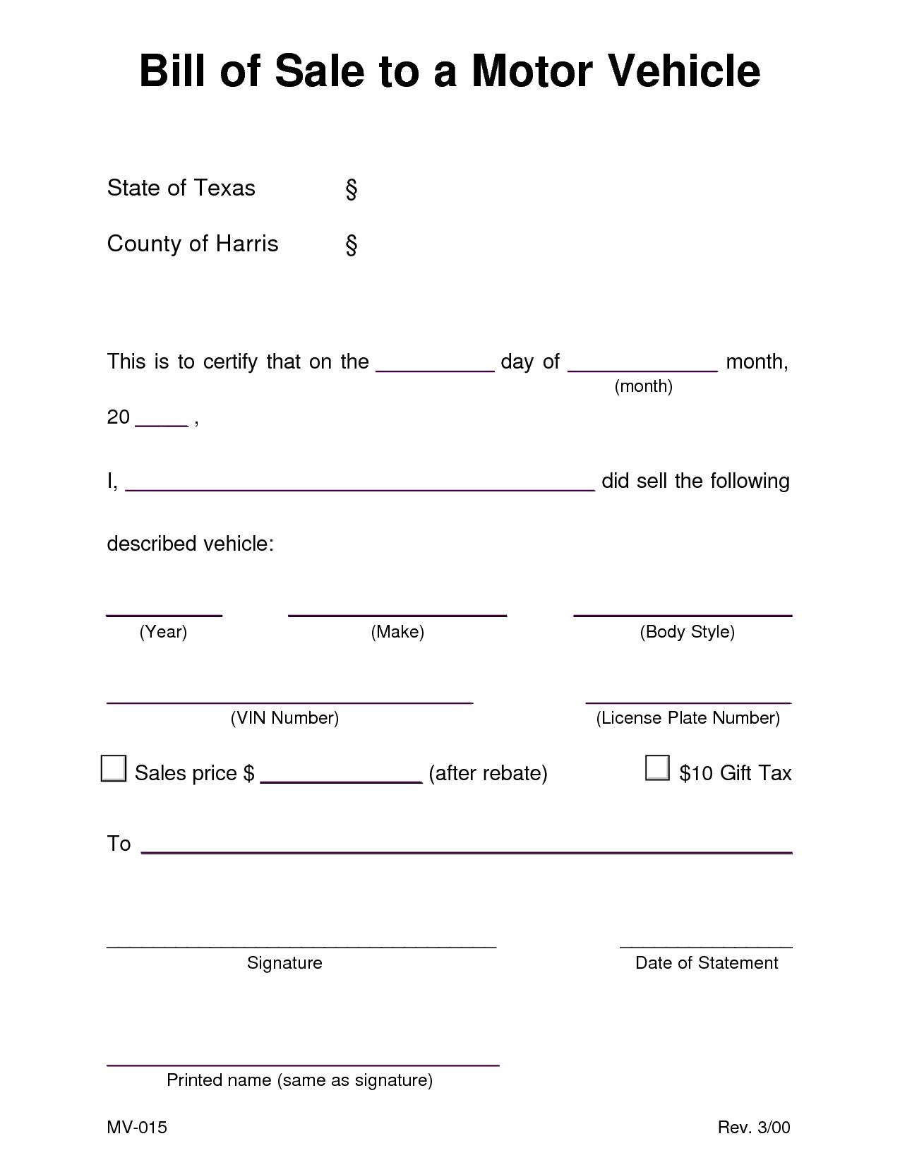 Texas Dmv Motor Vehicle Bill Of Sale
