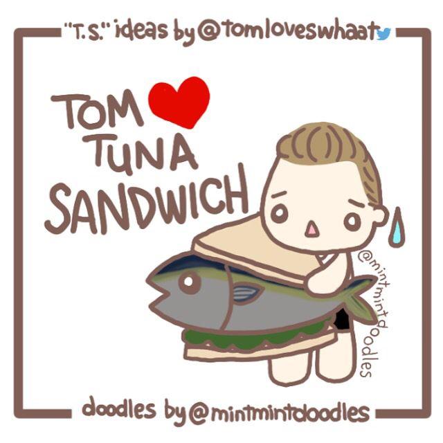 "I ♡ T.S. = Tom loves tuna sandwich ""T.S."" ideas by"