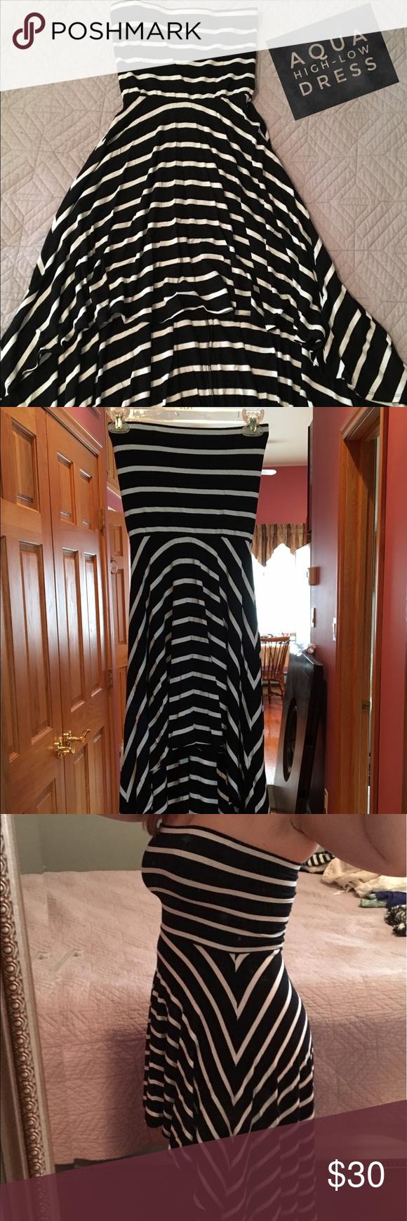 Aqua high-low strapless dress 👗 Stripped aqua high low dress, very comfortable . Elastic at the top. Size small Aqua Dresses High Low