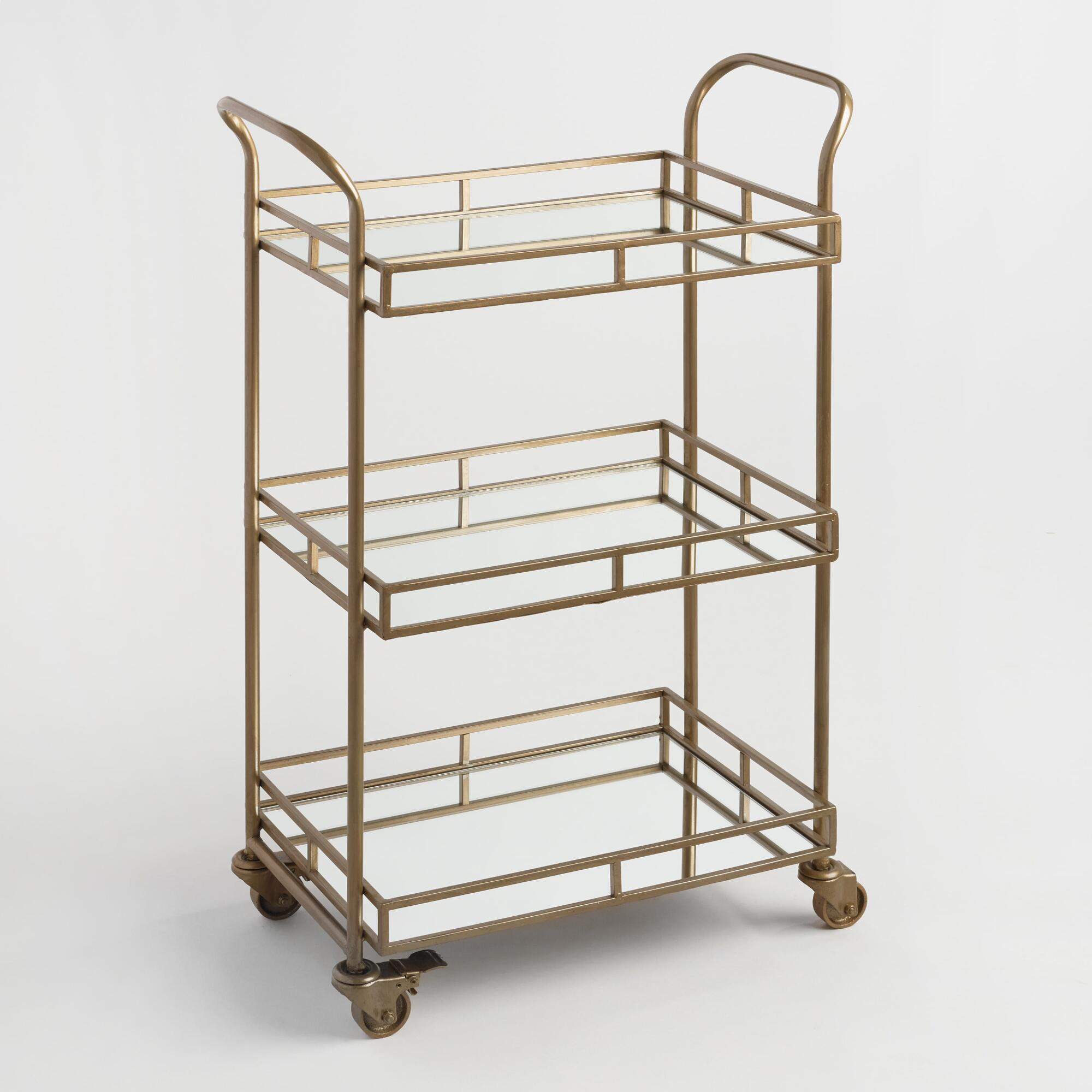 3 tier cart with wheels room essentials serve drinks in style with threetier bar cart featuring mirrored trays and an antiqued brass finish this portable fourwheel is perfect for parties