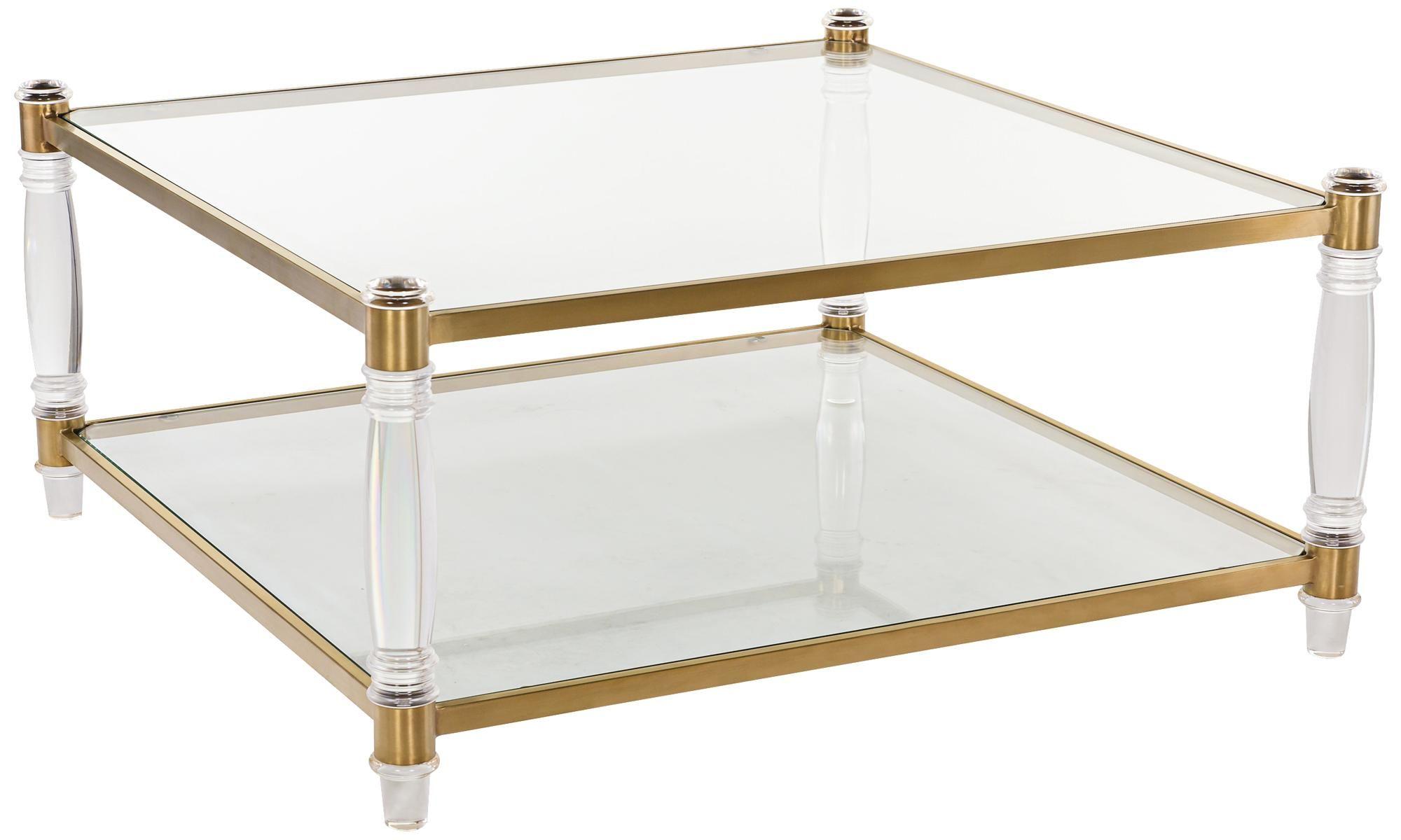 Isabelle Bronze Brass Square 2 Shelf Glass Coffee Table Acrylic Coffee Table Coffee Table Furniture [ 1200 x 2000 Pixel ]