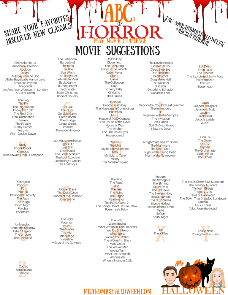 ABCs of Horror Movie Challenge - Mr. and Mrs. Halloween