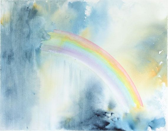 Rainbow Painting Original Watercolor Painting Rainbow Clouds
