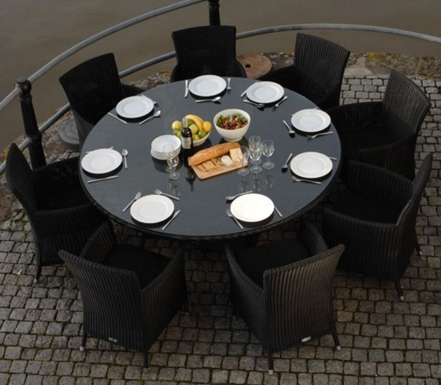 round outdoor dining table patio table
