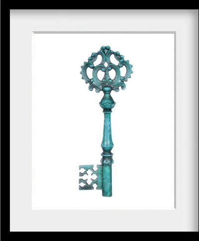 Blue Skeleton Key 8x10 contemporary artwork