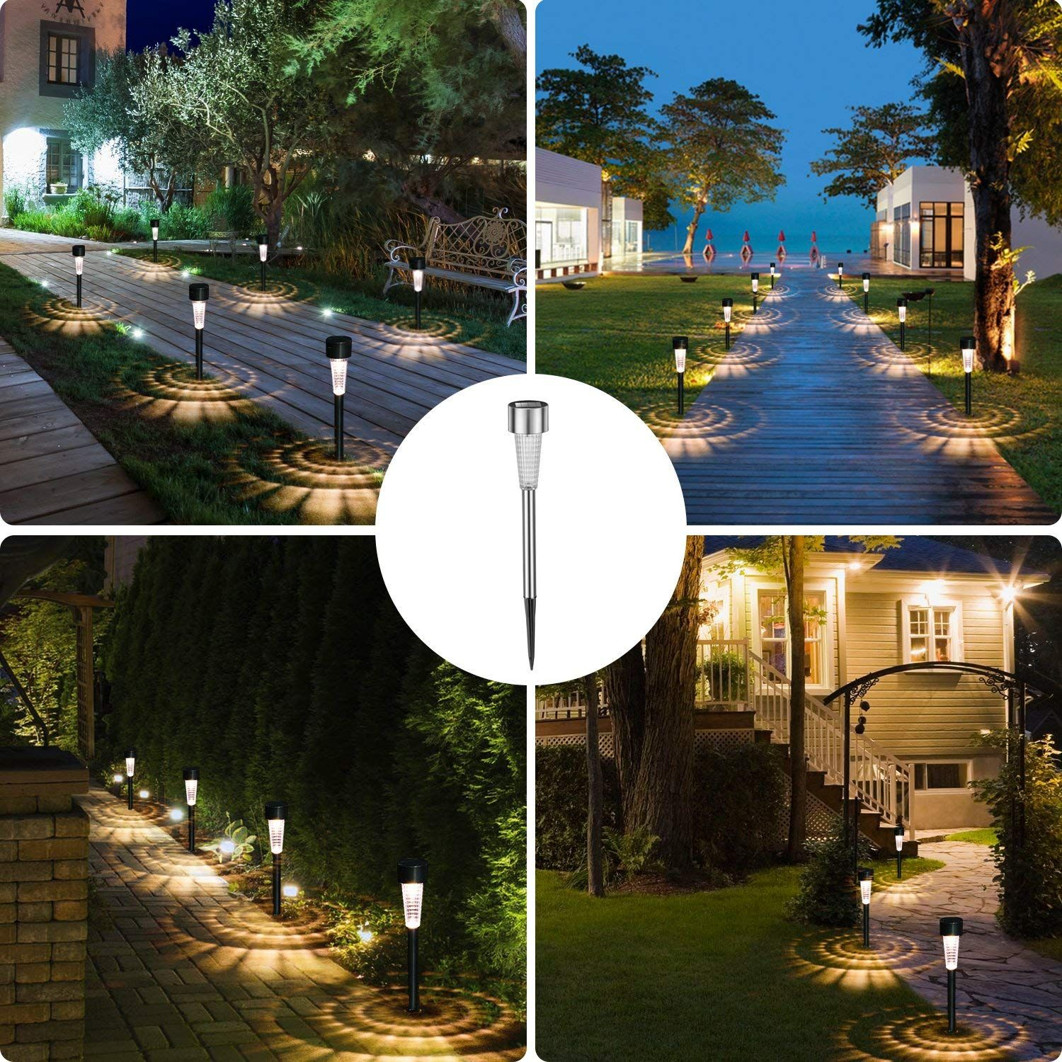 Concise And Elegant Durable Matt Black Painted Stainless Steel With Clear Plastic Lens Outdoor Pathway Lighting Solar Lights Garden Outdoor Landscape Lighting