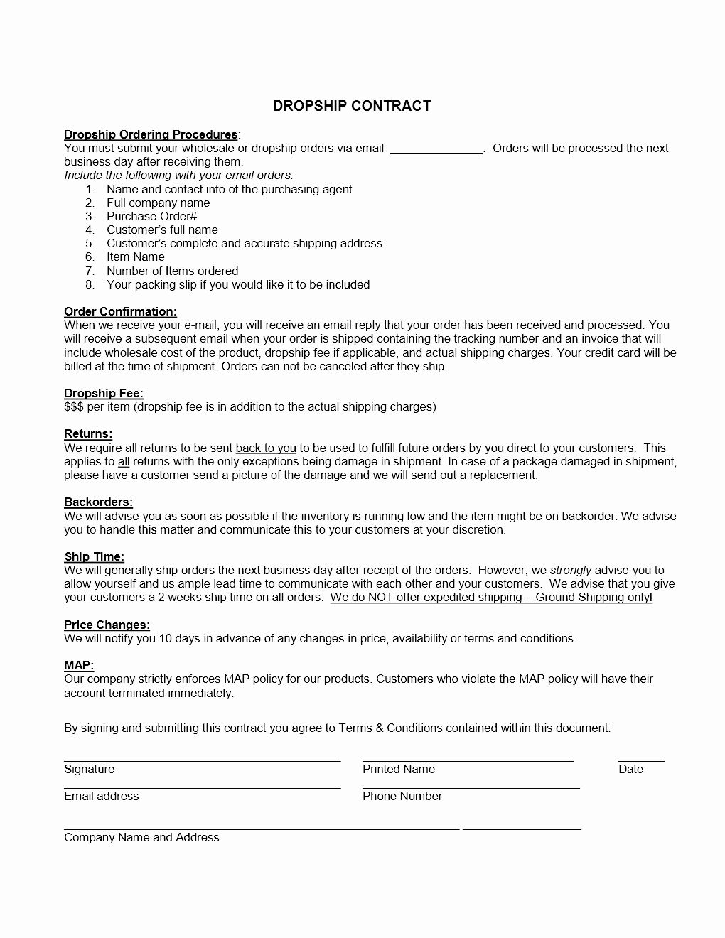 Free Wholesale Contract Template In 2020 Contract Template