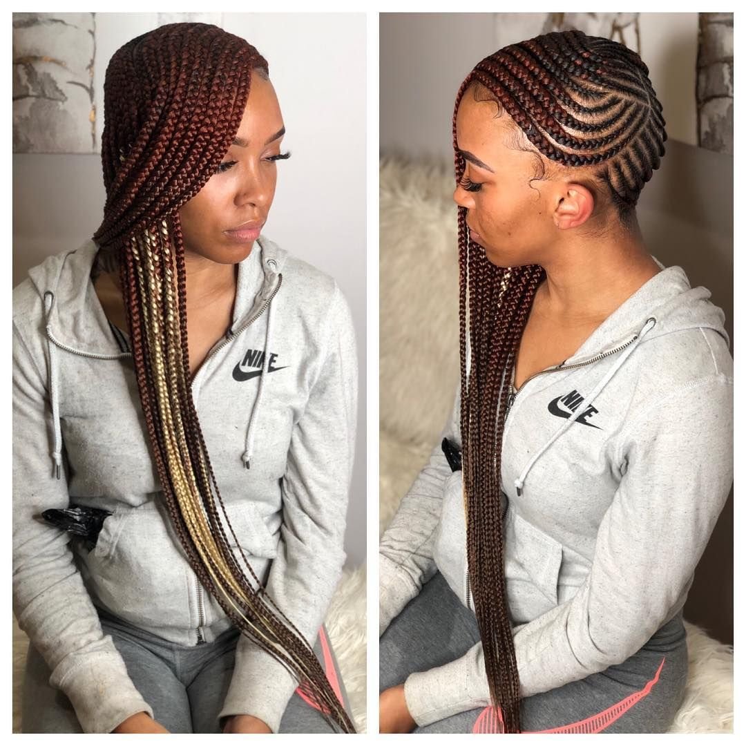 She Asked For Waist Length And That S What She Got Loving The Color Xoticbraids Boxbraids Lemonade Braids Hairstyles Braided Hairstyles Hair Styles