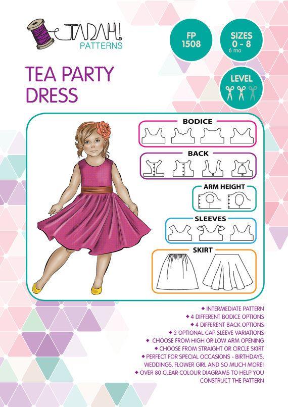 PATRÓN de Tea Party vestido - patrón de costura PDF - descarga ...