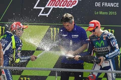 Yamaha team podium