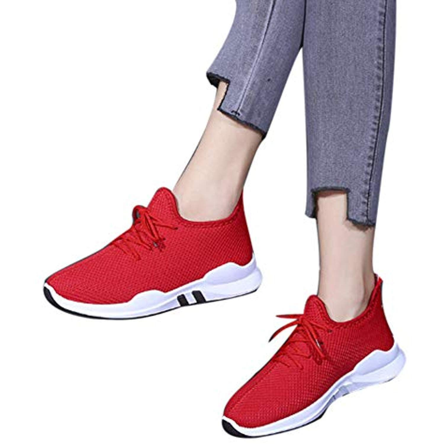 Ladies New Womens Running Trainers Lace Up Shoes Comfy Fitness Gym Sports