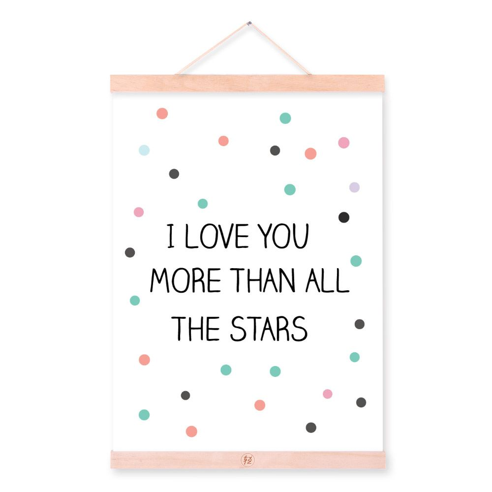 Modern motivational typography love star quote wooden framed a4 modern motivational typography love star quote wooden framed a4 canvas painting home decor wall art print jeuxipadfo Image collections