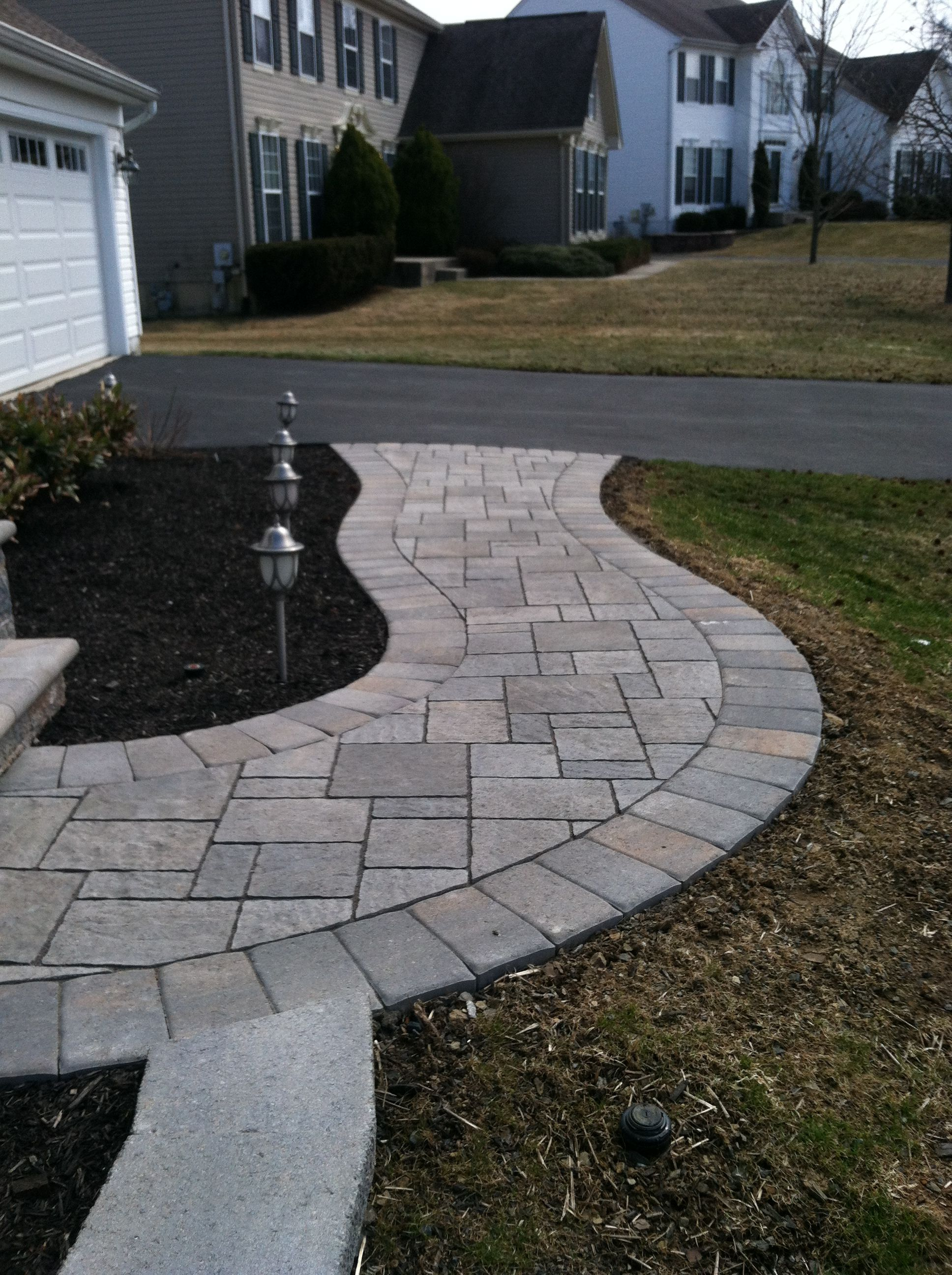 Hardscape Walkway From Entrance To Driveway #walkway