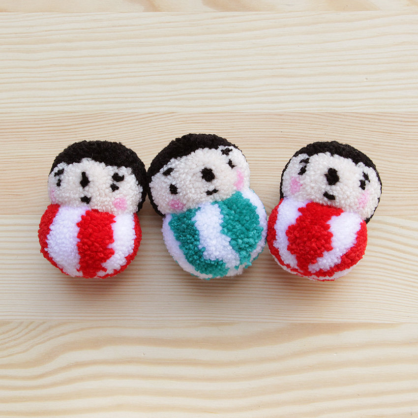 Polkaros' Daruma pom pom keychains are now back in stock! And in special edition colours too, in christmasy colours – red or green! Available at our physical and online store. http://shop.thelittledromstore.com/product/daruma