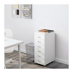 IKEA - HELMER, Schubladenelement auf Rollen, grün, , Einschübe für Etiketten erleichtern Ordnung und Übersicht.Dank der Rollen leicht beweglich und schnell umgestellt.